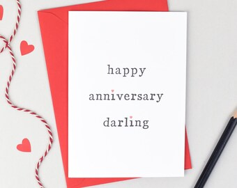 Happy Anniversary Darling or Gorgeous Card - Personalised Anniversary Card - Anniversary Card for Husband or Wife