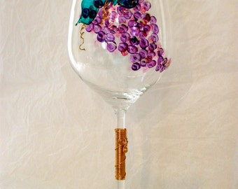 Oversized Hand Painted Grapes Crystal Wine Glass.  Wired Stem