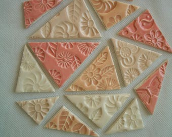 14PFT - 14 pc  Beautiful FLOWER Stamped TRIANGLES - Ceramic Mosaic Tiles Set