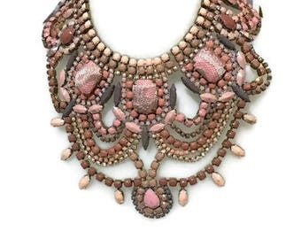 CHYKA 2  hand painted rhinestone super statement necklace