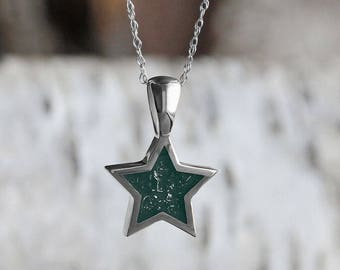 Handmade Hunter Green Stardust Pendant With Sterling Silver Rope Chain Necklace, Dainty Star Pendant Necklace With Meteorite Shavings