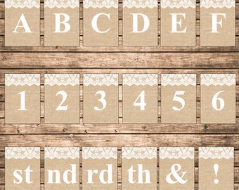 DIY Instant Download Burlap and Lace 5x7 Printable Alphabet Letters Numbers Abbreviation Punctuation Marks Banner Bunting Pennant Sign