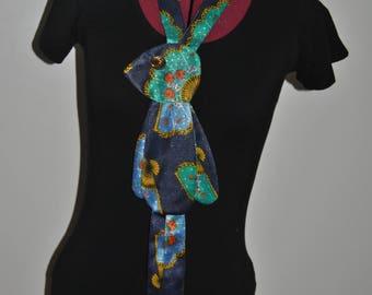 Retro Bunny Tie/ Necklace in Vintage Satin Fabric