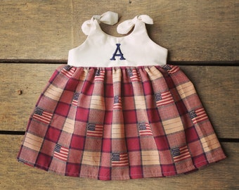 Fourth of July Baby Girl Dress, Memorial Day Outfit, Monogrammed Knot Dress, Patriotic Dress, Vintage Dress, Red, White and Blue, flag dress