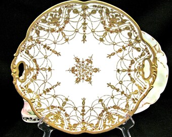 Nippon Beaded Gold Gilt and Jeweled Platter Gold Charger Gold Charger Plate Japan