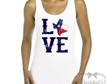 Texas Love Tank - Women's Tank Top Texas - T Shirt State Texan - Retro Adult Size S M L Xl XXL