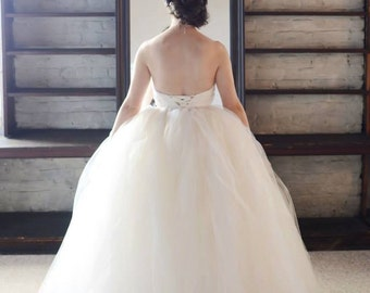 Custom Tulle Wedding Dress Overlay - Removable - Long and Full tulle skirt in your choice of color, size, and length