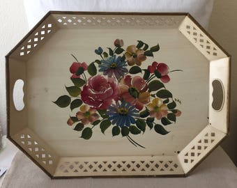 Beautiful Vintage Hand Painted Tray ~Shabby Chic