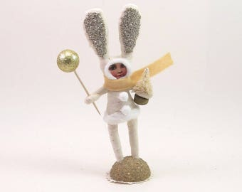 READY TO SHIP Vintage Inspired Spun Cotton Bundled Bunny Child Figure