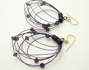 Orbit Earrings - Custom Color Choices, Silver or Gold, Wire & Crystal Color Selection, Free Shipping