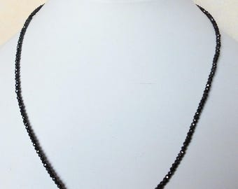 Gemstone Necklace Black spinel necklace 45 cm Necklace 2 mm FAC. Beads