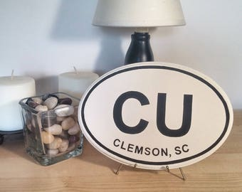 Clemson University - CU - Wood Oval Plaque - College Sign - Clemson Tigers - Hand Stenciled Wood Sign