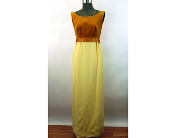 1960s gown gold velvet and crepe empire waist formal dress Size S