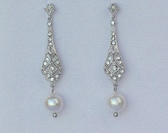 Pearl Bridal Earrings, Bridal Earrings, GOLD or SILVER, Wedding Earrings, Vintage Wedding Jewelry, VIOLET P