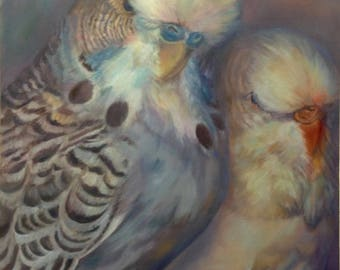 Budgie Greeting Card, Romantic Art, Parakeet Budgerigar  'A Subtle Pair' From Budgerigardener Oil Painting Old Master Fine Art