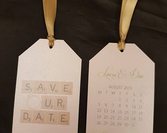 Scrabble Calendar Style Save the Date Wedding Tags