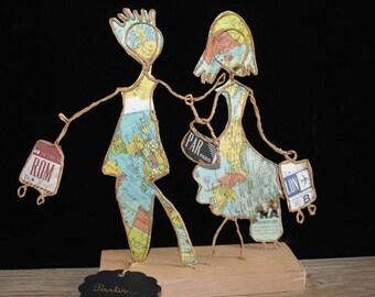 Gift travel fans, poetic figurine, sculpture string Etlabobinettecherra, french handmade, unique creation, paper poetry, travel