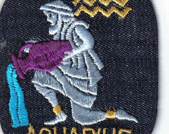 Aquarius Zodiac - Vintage 1970's Sewing Patch Applique nostalgic iron on