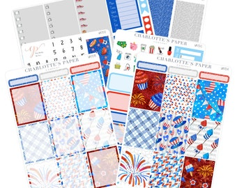 Planner Sticker Kit / Fourth of July Stickers / Planner Sticker / Erin Condren Planner Stickers /  Weekly Kit / Summer Stickers / WK72