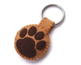 Filz, Pawprint Schlüsselanhänger, Schlüsselring braun Pfote, Plüsch Katze Tatze, Hund Fußabdruck, Tierfreund Geschenk, Hundemarke Filz
