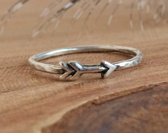 Dainty Arrow Ring - Sterling Silver Arrow Rings - Boho Jewelry - Arrow Stackable Ring - Arrow Ring Set