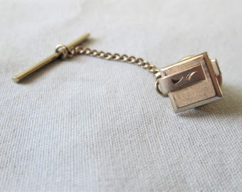 1960s Tie Tack Gold Color Mens Jewelry Vintage