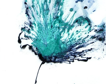 Flower Painting, Blue Artwork, Original Art, Abstract Floral