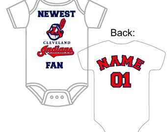 Newest Cleveland Indians Fan Custom Made and Personalized Baseball Gerber Onesie Jersey You Choose Name & Number - Great baby or Shower Gift