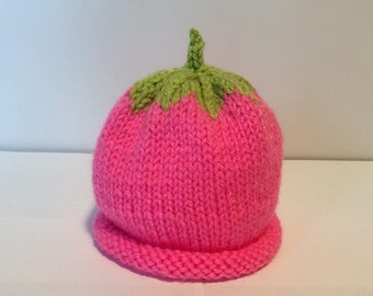 Hand Knit Newborn Baby Hot Pink Berry Hat Soft Washable Acrylic Yarn at NeedlesandPinsShop
