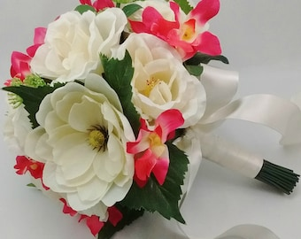 Magnolia Orchid Wedding Bouquet, Cabbage Roses, Cream Coral, Trending Bride Bridesmaid Flowers