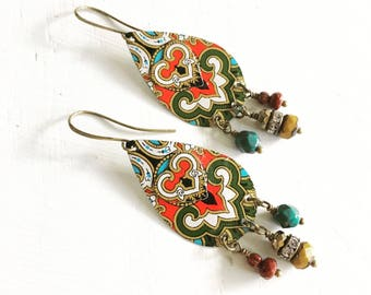 Upcycled Tin Earrings - Recycled Metal Jewelry - Earrings Handmade - Bohemian Jewelry - Gifts For Women