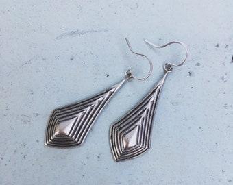Alivia Drops — vintage silver brass art deco etched cast charms, simple minimalist lightweight nashville cascade diamond pyramid