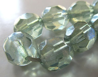 Czech Glass Beads 9mm Mint Green W/Picasso Finish Faceted Rounds - 12 Pieces