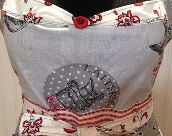 Women's full apron Paris theme black white red ruffled cotton shabby chic Chicken red ticking extra long ties posh girl apron vintage button