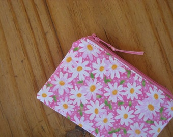 Zippered Credit Card Pouch in a Daisies and Dots Print