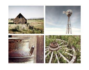 Modern Rustic  Set, Wall Art, Farmhouse Chic, Country Decor, Farm Decor, Blue & Green