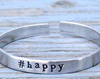 1 #happy bracelet, #happy handstamped bangle, hashtag jewelry, hashtag bracelet, personalized, instajewelry, instabracelet, aluminum