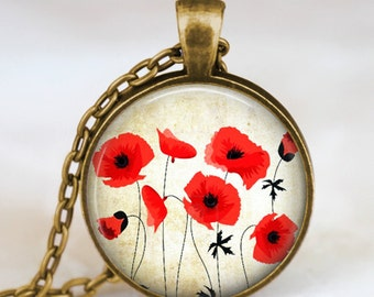 Poppies flower pendant , Red Poppies bridesmaid necklace , poppies jewelry ,flower jewelry,  spring flower necklace ,botanical jewelry