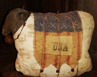 Extreme Primitive Folk art USA sheep Sheep doll Primitive doll Patriotic Americana