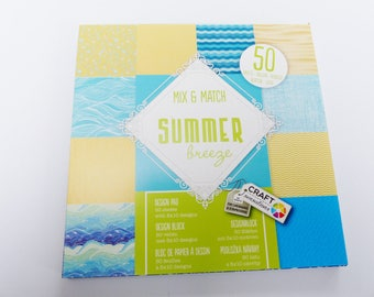 pad of paper printed 50 sheets of 15 cm summer beach wave sea sand yellow and Blue 10 scrapbooking designs
