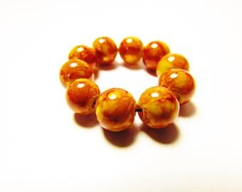 D-00919 - 10 Glass beads 8mm Brown