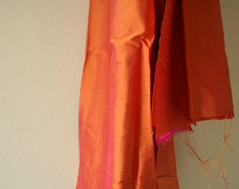 SILK FABRIC / vermillion orange / etsy australia / runningthreads