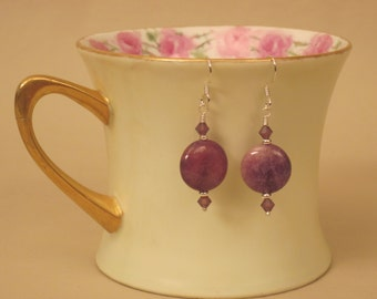 Brazilian Quartz & Sterling Silver Earrings:  Purple