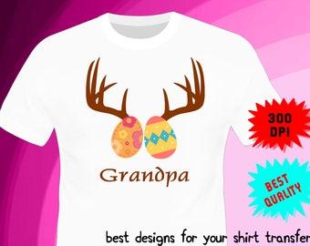 Easter Iron On Transfer - GRANDPA - Easter Birthday Shirt Design - Grandpa Shirt DIY - Digital Files - PNG Format - Instant Download