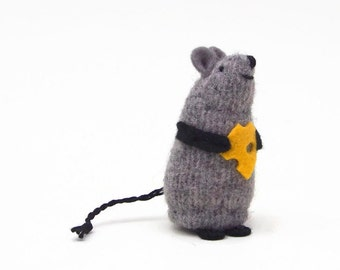 stuffed toy mouse, mouse and cheese, waldorf mouse, toy mouse, keepsake mouse, mouse ornament, mini plush mouse