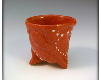 Unique Terracotta Shot Glass: Handmade Shot Glass, Small Cup, Tiny Cup, Red Shot Glass, Pottery Shot Glass, Ceramic Shot Glass, Dots (w7)