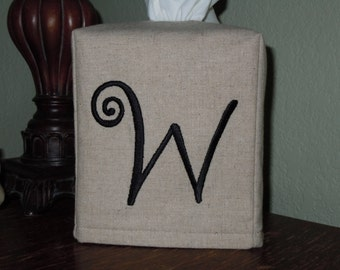 "Monogrammed Essex Natural Linen Tissue Box Cover -  Frivolous ""W"" Monogram   Made To Order"