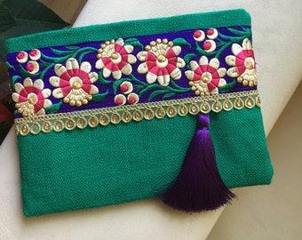 Teal green purple bohemian clutch