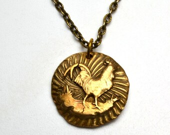 Bronze Clay Proud Rooster Necklace