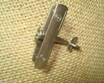 Vintage Biplane Prop Pewter Like Airplane Pin.